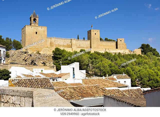 Panoramic view. Moorish castle Alcazaba, Antequera. Málaga province, Andalusia. Southern Spain Europe