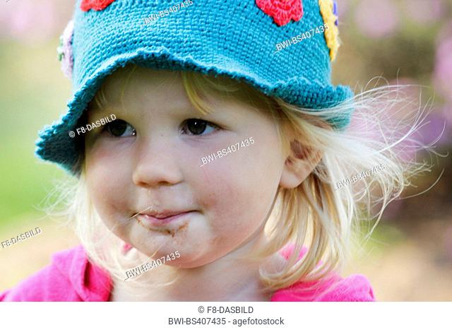 little girl with crochet cap, portrait of a child, Germany