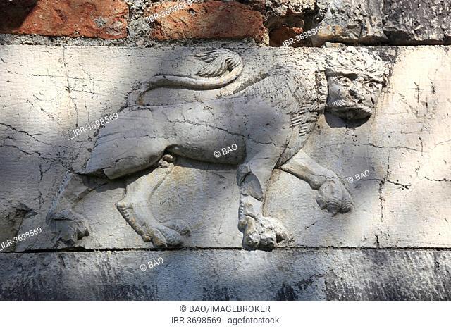 Venetian stone relief on the outer wall of St. Nicholas Church, Byzantine monastery church, Mesopotam, Albania