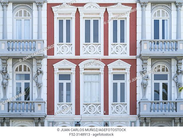 Neoclassical façade, Santa Ana square, Vegueta neighborhood, Las Palmas city, Gran Canaria Island, The Canary Islands, Spain, Europe