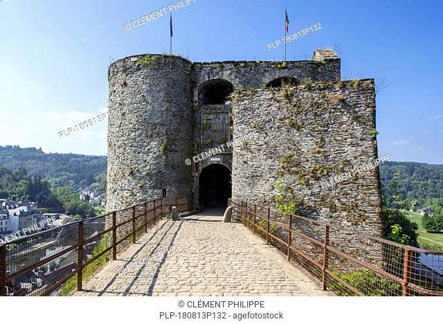 Entrance gate of the medieval Château de Bouillon Castle, Luxembourg Province, Belgian Ardennes, Belgium