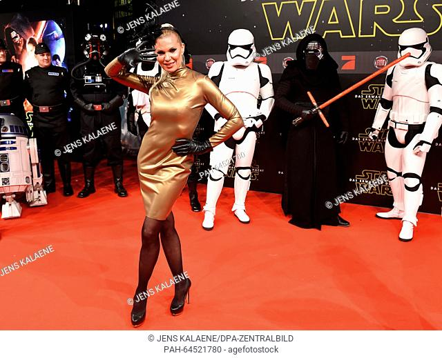 Maja Prinzessin von Hohenzollern poses on the red carpet at the German premiere of the new film 'Star Wars:The Force Awakens' in the Zoo Palast cinema...