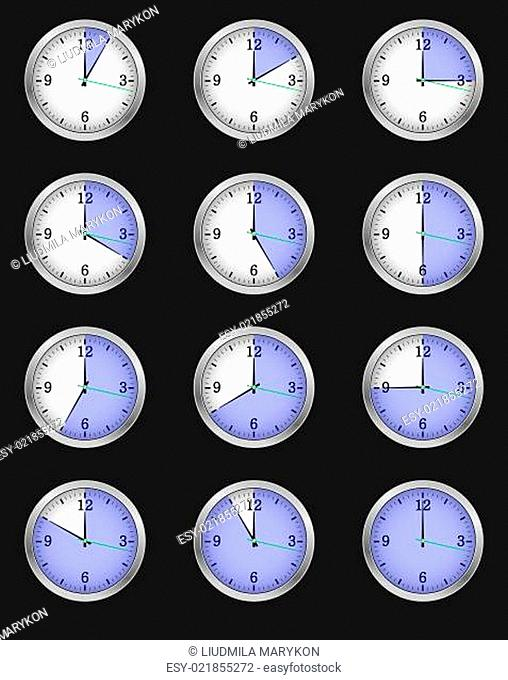 Set of twelve alarms indicating different times