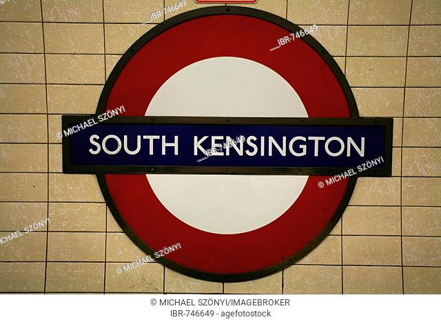 South Kensington tube logo and Underground station, Piccadilly Line, London, England, UK