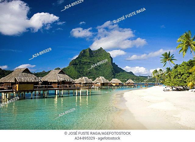 Huts and mount Otemanu, Bora Bora island, Society Islands, French Polynesia (May 2009)