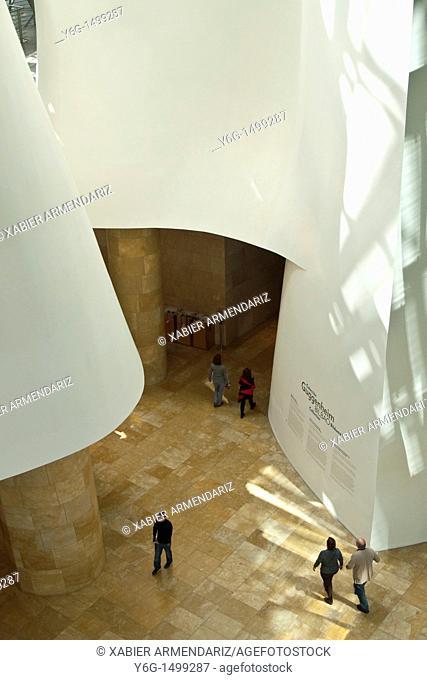 Main hall of Guggenheim Bilbao museoa, Bilbao, Basque country, Euskadi, Spain