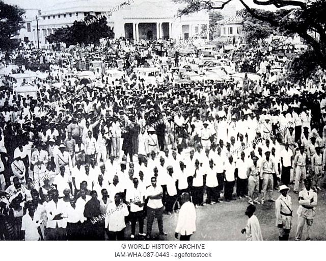 Photograph of partisans of the Union of Senegal Populations gathered in Protest Square, Africa. Dated 20th Century