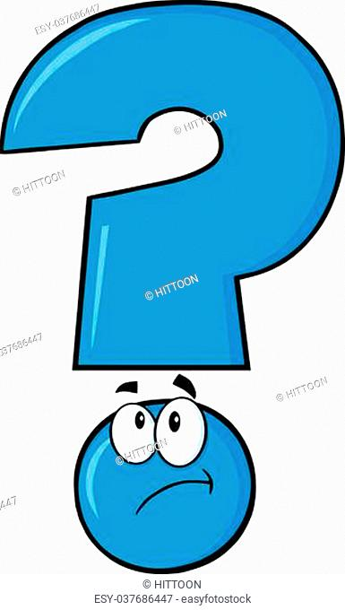Blue Question Mark Cartoon Character Thinking