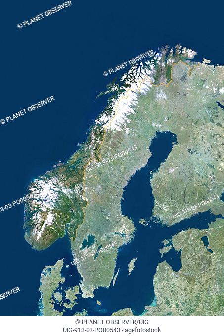 Norway, Europe, True Colour Satellite Image With Border And Mask. Satellite view of Norway with border and mask. This image was compiled from data acquired by...