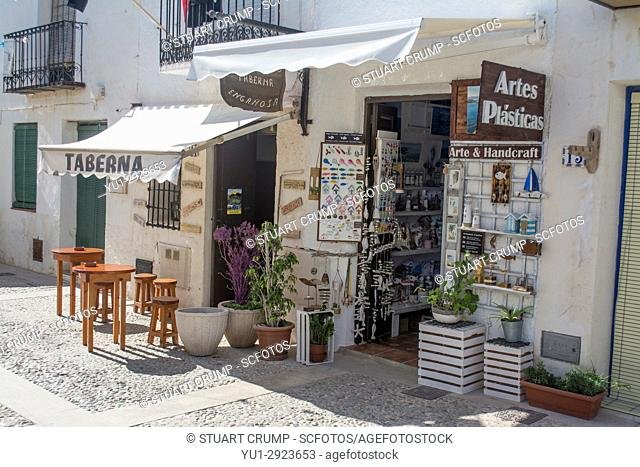 Small bar and Arts and crafts shop on the main street of the Spanish island of Tabarca