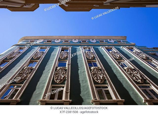 Detail of building in calle Gregorio Rocamonde,old city, Coruña city, Galicia, Spain