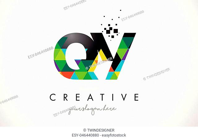 QY Q Y Letter Logo with Colorful Vivid Triangles Texture Design Vector Illustration