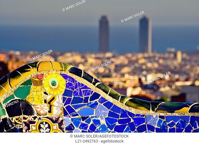 Colorful ceramic bench designed by Antoni Gaudi, Park Guell. Barcelona, Catalonia, Spain