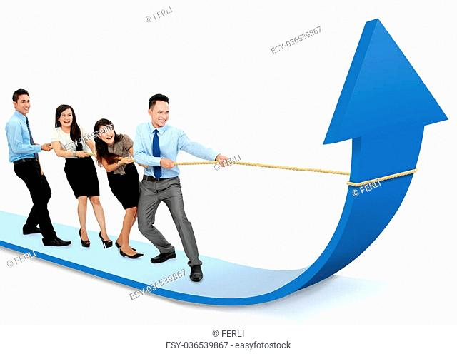 portrait of business team pulling up bar using rope. growth chart concept