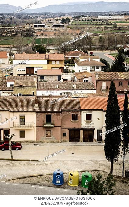 A high perspective view in Sentiu de Sió, Lleida province, Catalonia, Spain