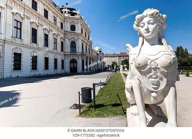 Sphinx Sculpture and Garden Terrace of the Upper Belvedere Palace The Belvedere Palaces were built as a summer residence for Prince Eugene of Savoy