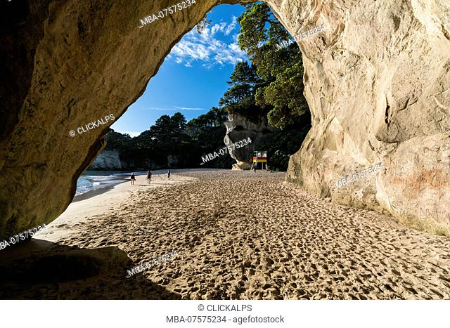 Lifeguard tower and Cave tunnel rock at Cathedral Cove, Hahei, Waikato region, North Island, New Zealand