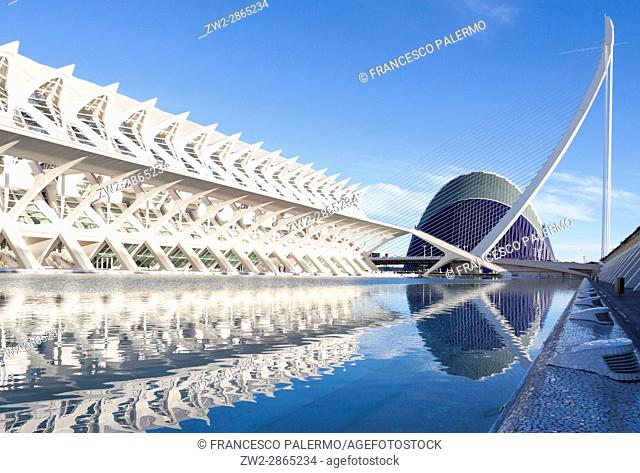 City of Arts and Sciences in a winter sunset. Valencia, Spain