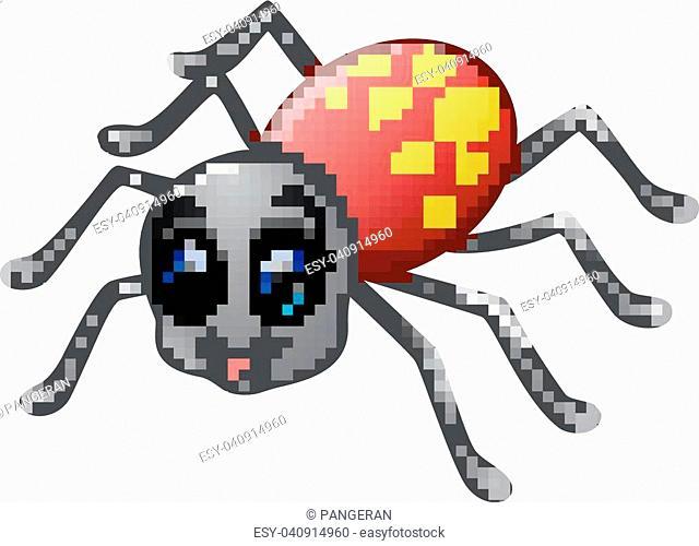 Vector illustration of Cute spider cartoon