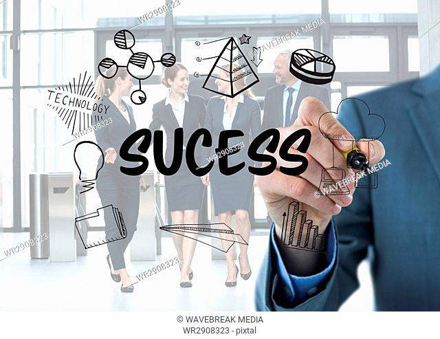 Sucess graphic. Business men writing it