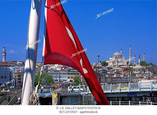 Turkey, Istanbul, Süleymaniye Mosque dominating Istanbul, from Galata bridge