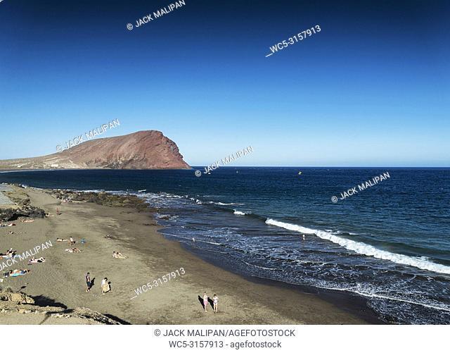 las tejitas volcanic beach and montana roja landmark landscape in south tenerife spain