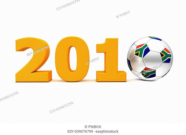 orange date 2010 with a football replacing number 0 - south african flag on the ball