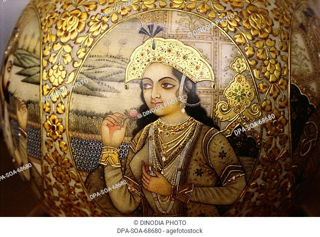 Noor Jahan Mughal queen painting with golden embossing