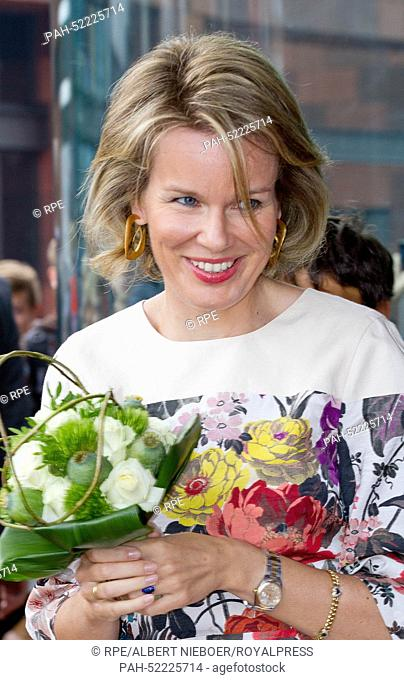 Antwerpen, 24-09-2014 HM Queen Mathilde HM King Filip and HM Queen Mathilde visit the exhibition Holy Books, Holy Places in the Museum Aan de Stroom (MAS) in...