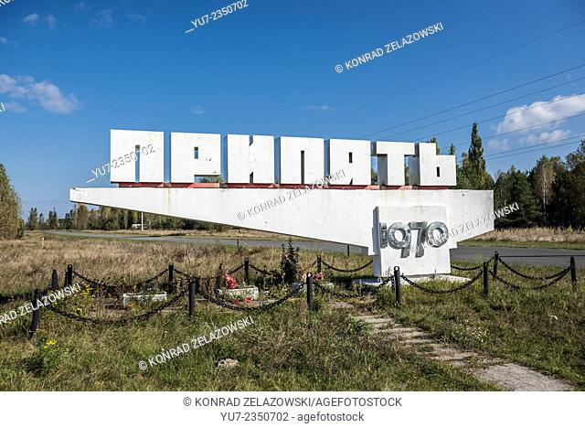 Entry sign to Pripyat ghost town in Chernobyl Exclusion Zone of Alienation, Ukraine