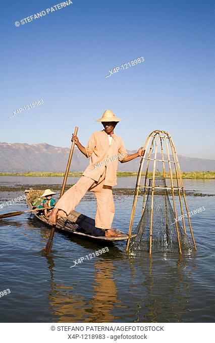 Leg rowing fisherman. Inle Lake, Myanmar