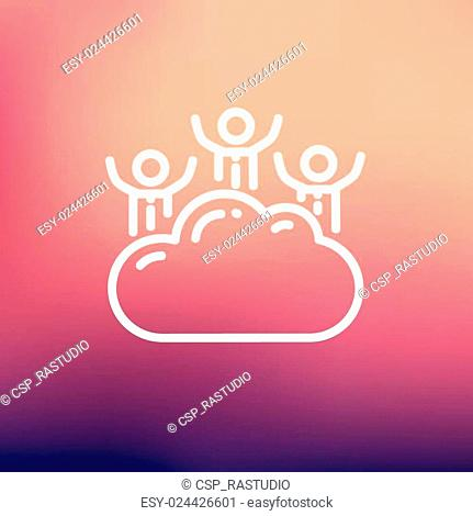 Three men on a cloud thin line icon
