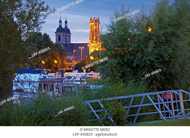 Port de Plaisance of Pont-a-Mousson with church Saint Martin and Abbaye des Premontres, Meurthe-et-Moselle, Region Alsace-Lorraine, France, Europe