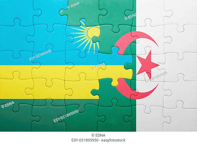 puzzle with the national flag of algeria and rwanda . concept