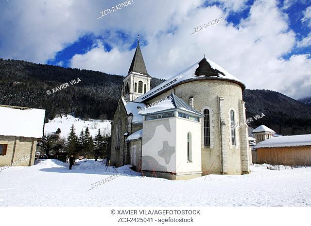 Church of the ski resort of Saint Hugues en Chartreuse, Alps, Isere, Rhone Alpes, France