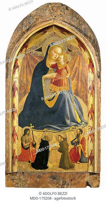 Madonna and Child with Sts John the Baptist, Dominic, Francis and Paul, by Guido di Pietro (Piero) known as Beato Angelico, 1428 - 1430 about, 15th Century