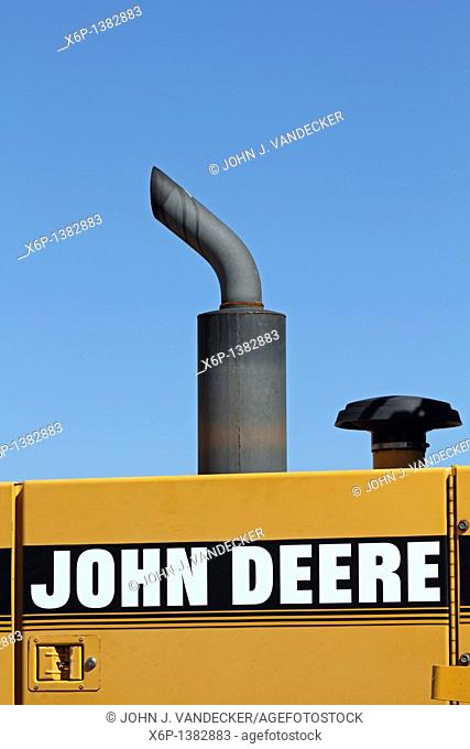 Closeup of the exhaust pipes on a John Deere heavy construction equipment  Lavalette, New Jersey, USA
