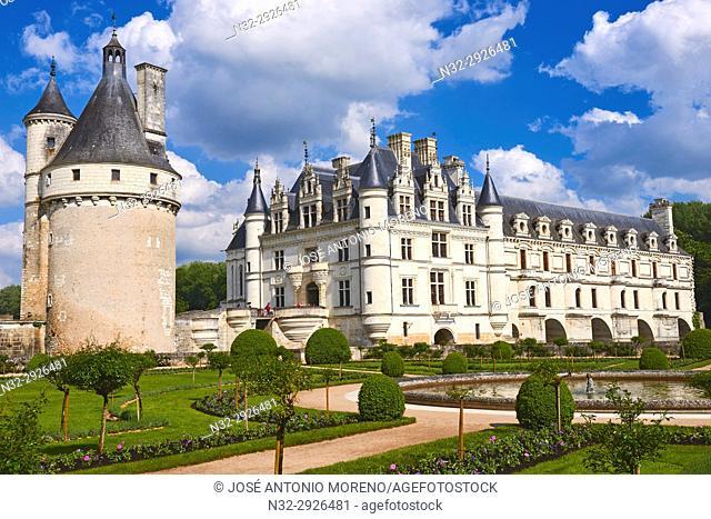 Chenonceau, Castle, Chateau de Chenonceau, Indre-et-Loire, Cher River, Pays de la Loire, Loire Valley, UNESCO World Heritage Site, France