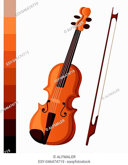 Vector illustration in flat style design Classical violin. Isolated musical instrument on white background