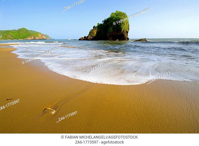 Rock and beach at Playa Nivaldito, Eastern coast of Venezuela