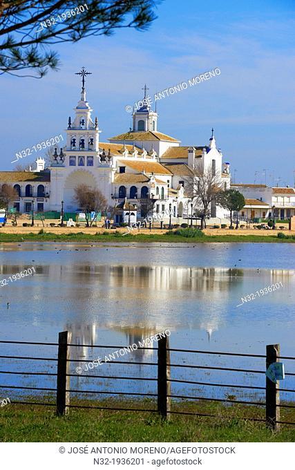 El Rocio village and Hermitage, Almonte El Rocio, El Rocio Marismas de Doñana, Doñana National Park, Huelva province, Andalusia Spain