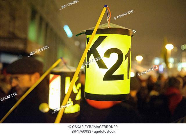 Lantern with the label K21, Monday demonstration against Stuttgart 21 in front of the main railway station on the Arnulf-Klett-Platz square, Stuttgart