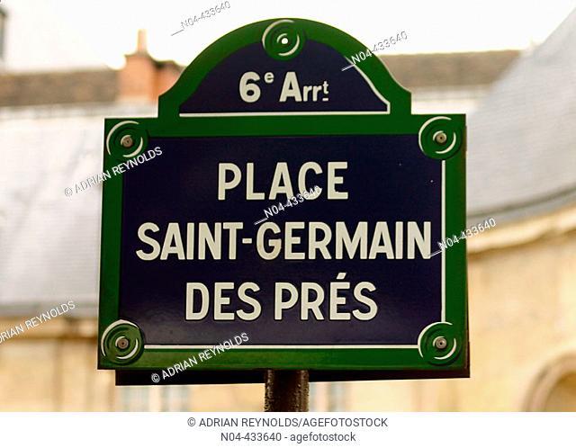 Place Saint-Germain des Prés sign, Paris. France