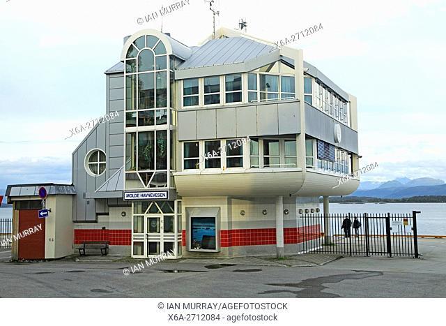 Modern architecture of port harbour building Molde, Romsdal county, Norway - Molde Havnevesen