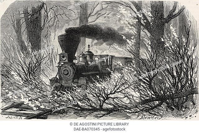 Fire in a forest, train on the Pacific railroad, United States of America, engraving by P Blanchard from L'Illustration, Journal Universel, No 1313, April 25