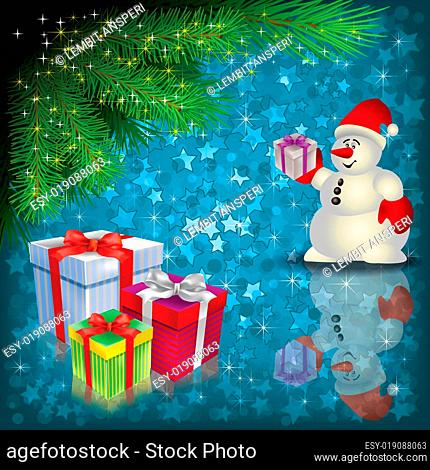 Christmas greeting with snowman and gifts
