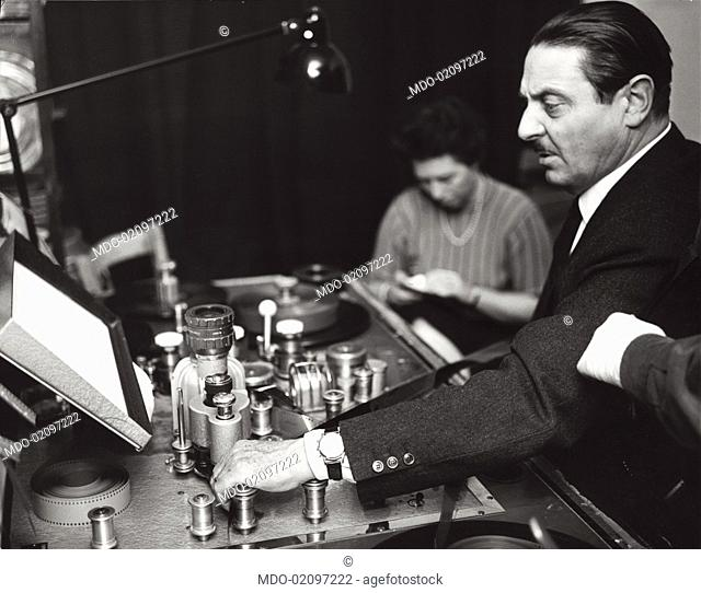 Italian director and scriptwriter Alessandro Blasetti working on a TV show. 1962