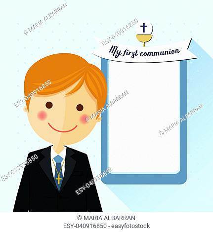 Foreground child costume in her first communion dress invitation with message on blue background