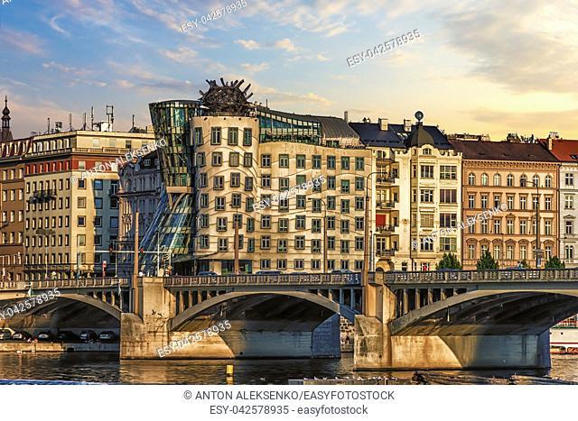 Dancing house and the bridge nearby, Prague, Czech Republic