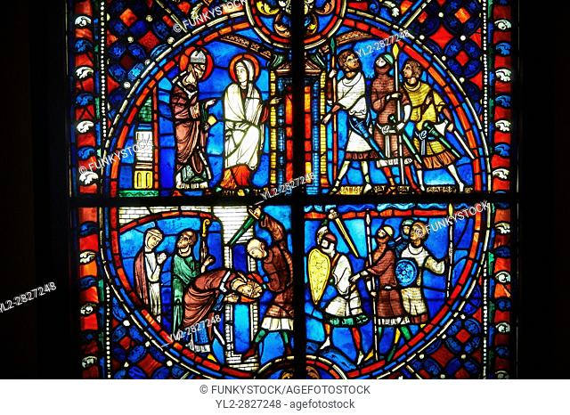 Stained glass windows depicting scenes from the life of Saint Nicaise, made in the first quarter of the 13th century from a chapel in the Cathedral of Soissons